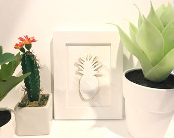 Pineapple / Framed Art / White and Gold / Handmade / 3D / Clay / Sculpted / 5x7 frame