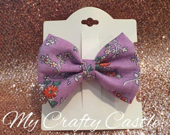 Vintage purple flower hair bow
