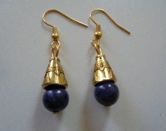 Earring Lapis Lazulis stone natural for Lithotherapy