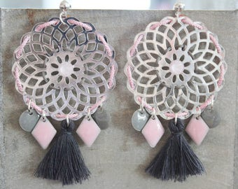 Dark gray, Pale pink and silver (pierced) earrings