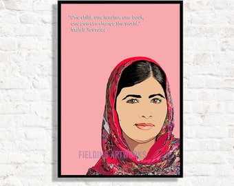 Malala Yousafzai Poster//print, Malala Poster of an inspirational woman. Malala quotes inspiers young woman Feminist Icon