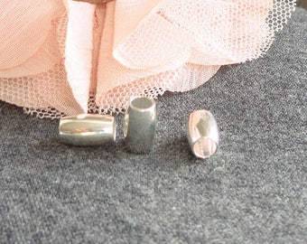 5 passing xperles 10 x 6 mm hole 4 mm silver metal bead silver brass barrel