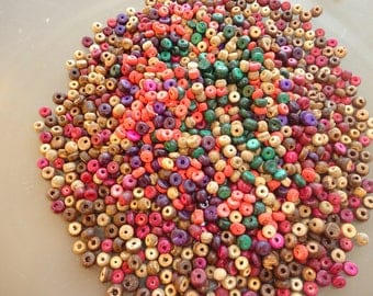 100 multicolored 2.5 to 4 mm coconut beads