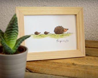 """Hedgehog family"" framed watercolor - decor nursery kids - 13x18cm"
