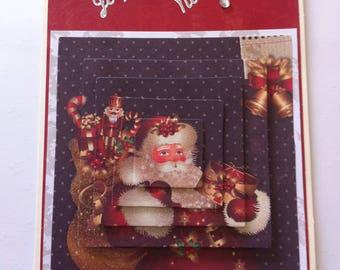"Merry Christmas card ""Santa Claus and his hood"", 3D"