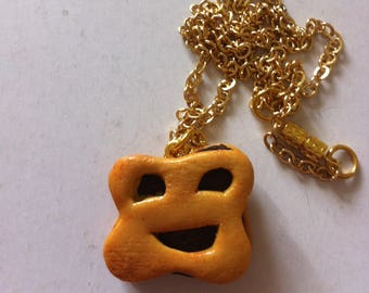 """""""Smiling cookie"""" necklace, polymer clay"""