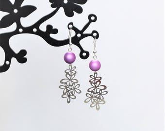 Purple Pearl and Silver Flower print earrings