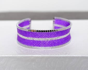 Purple and silver woven bracelet in Miyuki Delica beads