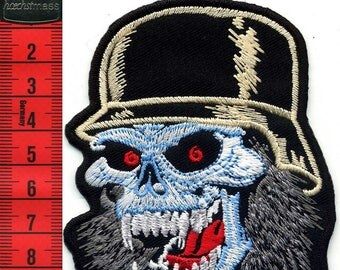 Skull patch iron or sew 8 X 10 Applique Patch
