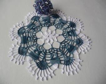 Handmade Denim Blue cotton napkin is subtle and white