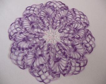 Small doily handmade ombre purple cotton