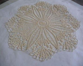 handmade crochet lace doily ecru thread