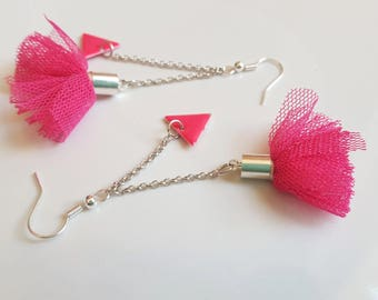 DIY kit earrings silver and Fuchsia pom poms and sequins