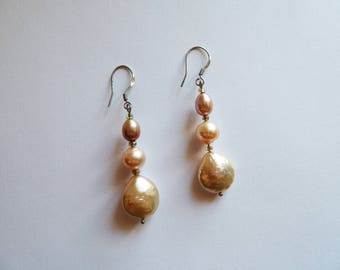 Earrings Elite, pink freshwater pearls, gold and silver