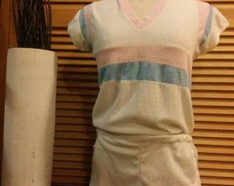 Vintage 70s terry cloth top & bottom set.