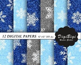 Glitter Snowflakes Digital Paper, Christmas Digital Paper, Printable Christmas Paper, 12 x 12, Silver Blue Glitter Snow, Scrapbook Paper