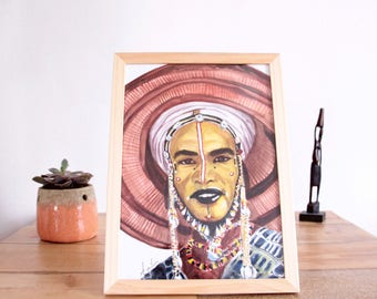 "Man of the tribes of Africa ""Fulani"" watercolor illustration"