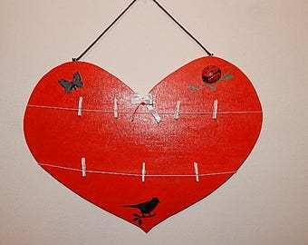 Heart painting to hang photo, memo, or other