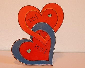 "Inscription ""You and me"" pedestal wooden hearts"