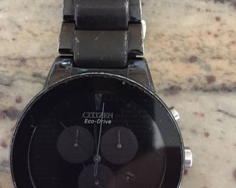 Citizen Eco-Drive mens Axium  chronograph stainless steel black dial case and bracelet watch