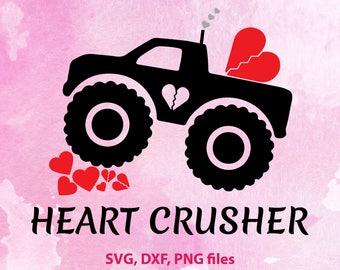 Heart Crusher svg, Boy Valentine svg, Kids Truck SVG, Monster truck svg, Truck clip art, Heart breaker PNG, Monster truck design, Valentines