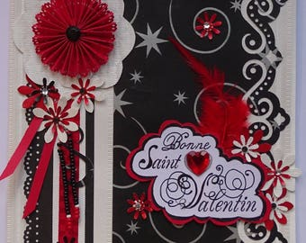 Card Valentine's day red and Black 2-st Valentine's day-Love-Love greeting-card