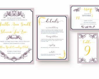 Full Wedding Suite | Martha | Blush Pink, Navy & Sunset Yellow