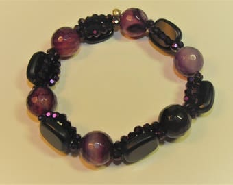 Purple and black stretch bracelet