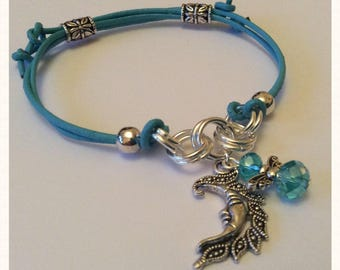 Blue Leather I AM INTUITIVE Archangel Haniel Charm Bracelet with Silver Moon and Angel Charm