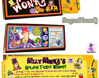 1 Customized Willy Wonka Party Golden Ticket Wonka Bar Invitation | Birthday | Celebration | Gift | Custom Invitation