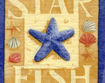 381 starfish and shells - 1 towel paper 33 X 33