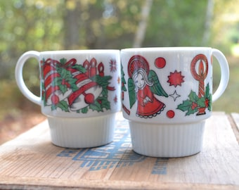 Two Trimont Ware Stack Mugs, Festive, Christmas
