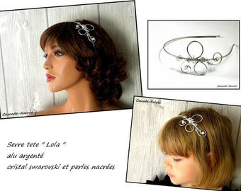 shake head Lola fascinator aluminium bead white wedding bridal brass