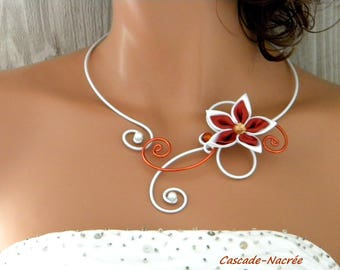 John satin flowers bridal necklace rust orange white aluminium silver Pearl wedding