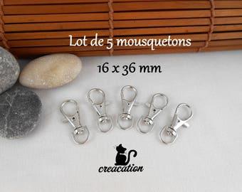 5 lobster swivel clasps, key, large model: 3, 6cm. silver metal