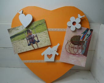 Orange and white heart shaped picture frames