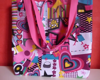 tote bag, beach bag Tote girly cotton canvas