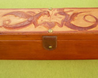 Waxed leather molded and tooled glued on wood top with wooden box case