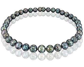 TRIBAL DANCE Engraved Tahitian Pearls Necklace