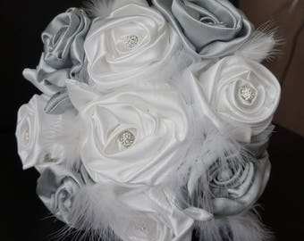 original tulle and satin bridal bouquet