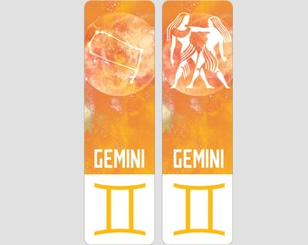 Gemini Zodiac Sign Indestructible waterproof bookmark