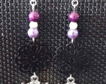"""Purple OWL"" earrings 8 cm"
