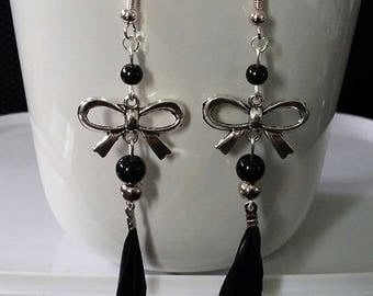 "Earrings ""Feather bow"" 9.5 cm"
