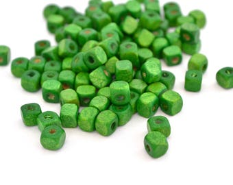 100 wooden 5x5mm green cube beads