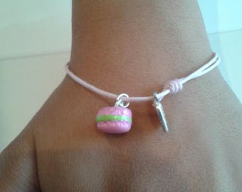 Bracelet sweet delicious macaroon pink and green - and so forth and so