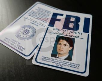 Twin Peaks FBI Agent Dale Cooper Badge, Twin Peaks TV Show, Kyle MacLachlan, Cosplay FBI Badge