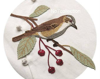 Embroidered Bird with Flowers Patch