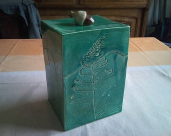 The fern. Earthenware rectangular box. Reserved