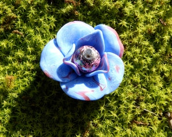 Cabochon flower heart bead