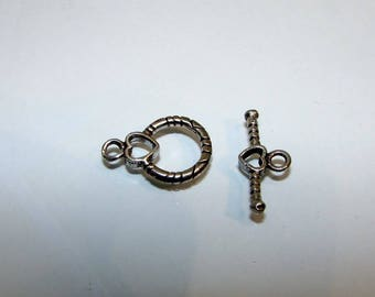 Silver toggle hook clasp first, small heart, 20 mm.